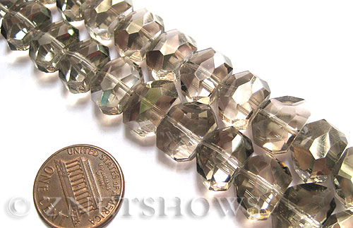 Tiaria Glass Crystal 70-Dark Tan Color nugget Beads <b>14x10mm</b> faceted     per   <b> 17-pc-str</b>
