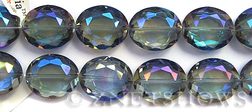 Tiaria Glass Crystal 123-Meridian Blue oval Beads <b>9x12mm	</b> faceted     per   <b> 17-pc-str</b>