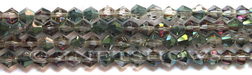 Tiaria Glass Crystal 120-Sahara Green bicone Beads <b>6mm</b> faceted     per   <b> 10-str-hank(32-pc-str)</b>