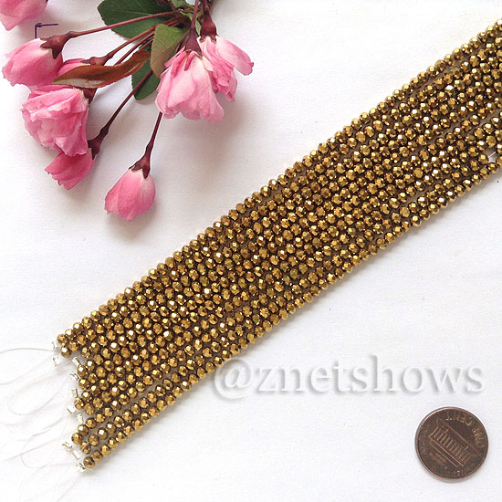 Tiaria Glass Crystal rondelle Beads <b>about 3x3.5mm</b> faceted 103-Metallic Gold  (8-in-str,about 75-pc-str) per <b>10-str-bag</b>