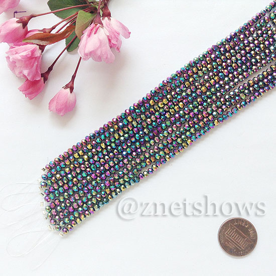 Tiaria Glass Crystal rondelle Beads <b>about 3x3.5mm</b> faceted 106-Metallic Peacock  (8-in-str,about 75-pc-str) per <b>10-str-bag</b>