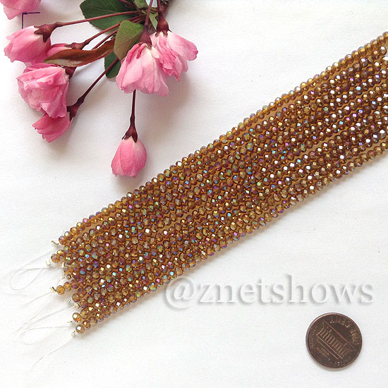 Tiaria Glass Crystal rondelle Beads <b>about 3x3.5mm</b> faceted 18AB-Mocha AB  (8-in-str,about 75-pc-str) per <b>10-str-bag</b>