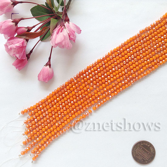 Tiaria Glass Crystal rondelle Beads <b>about 3x3.5mm</b> faceted  Opaque Saffron Yellow AB (8-in-str,about 75-pc-str) per <b>10-str-bag</b>