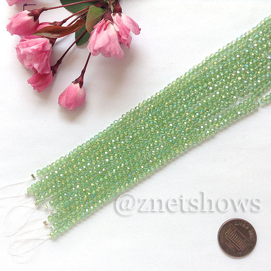 Tiaria Glass Crystal rondelle Beads <b>about 3x3.5mm</b> faceted 23AB-Peridot AB  (8-in-str,about 75-pc-str) per <b>10-str-bag</b>