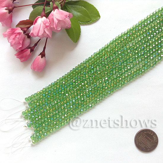 Tiaria Glass Crystal rondelle Beads <b>about 3x3.5mm</b> faceted 24AB-Pine green AB  (8-in-str,about 75-pc-str) per <b>10-str-bag</b>