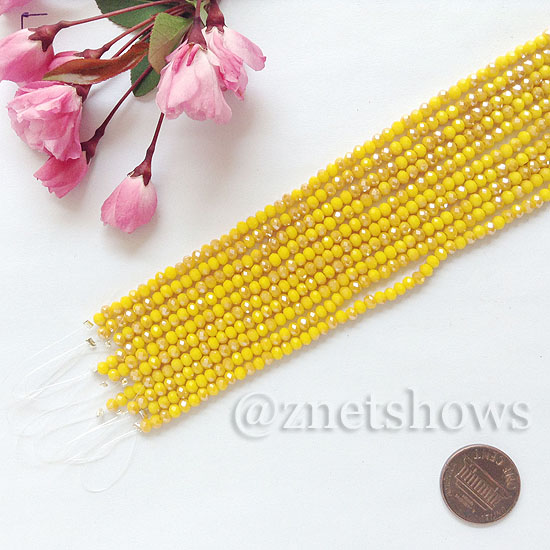 Tiaria Glass Crystal rondelle Beads <b>about 3x3.5mm</b> faceted 81AB - Opaque Yellow AB  (8-in-str,about 75-pc-str) per <b>10-str-bag</b>