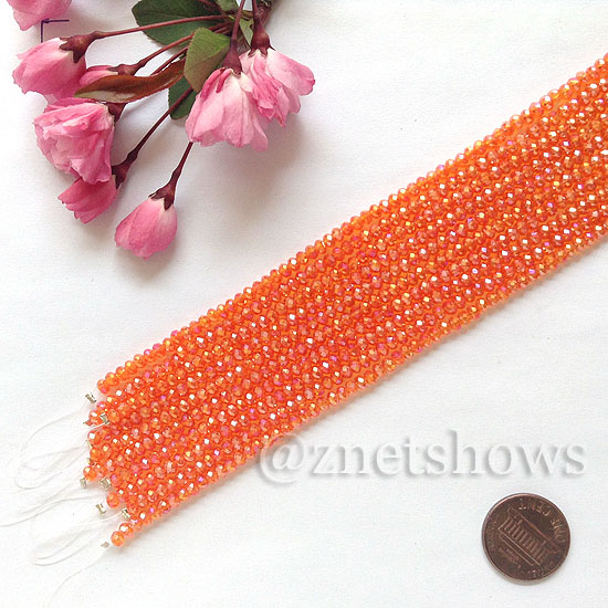 Tiaria Glass Crystal rondelle Beads <b>about 3x3.5mm</b> faceted 83AB - Tangerine AB  (8-in-str,about 75-pc-str) per <b>10-str-bag</b>