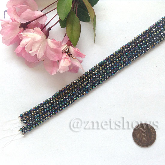 Tiaria Glass Crystal rondelle Beads <b>About 2x2.5mm</b> faceted 02AB-Jet Black AB  (8-in-str,about 100-pc-str) per <b>5-str-bag</b>