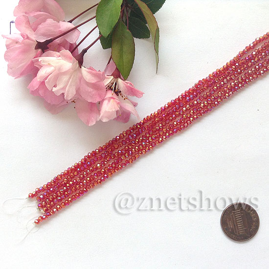 Tiaria Glass Crystal rondelle Beads <b>About 2x2.5mm</b> faceted 05AB-Cherry Red AB  (8-in-str,about 100-pc-str) per <b>5-str-bag</b>