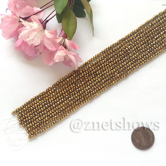 Tiaria Glass Crystal rondelle Beads <b>About 2x2.5mm</b> faceted 103-Metallic Gold  (8-in-str,about 100-pc-str) per <b>10-str-bag</b>