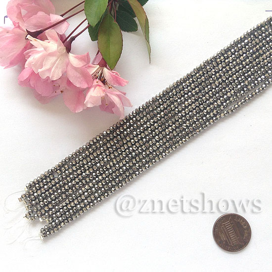 Tiaria Glass Crystal rondelle Beads <b>About 2x2.5mm</b> faceted 104- Metallic Silver  (8-in-str,about 100-pc-str) per <b>10-str-bag</b>