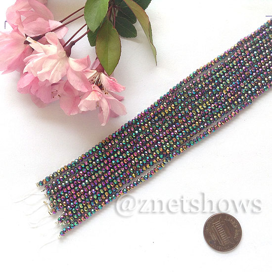 Tiaria Glass Crystal rondelle Beads <b>About 2x2.5mm</b> faceted 106-Metallic Peacock  (8-in-str,about 100-pc-str) per <b>10-str-bag</b>