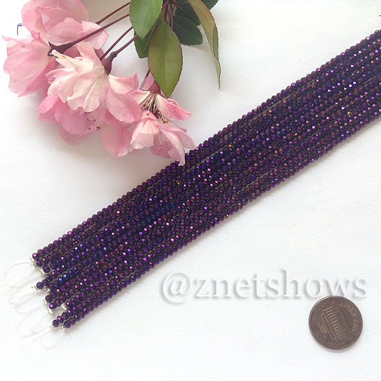 Tiaria Glass Crystal rondelle Beads <b>About 2x2.5mm</b> faceted 107-Metallic Purple  (8-in-str,about 100-pc-str) per <b>10-str-bag</b>