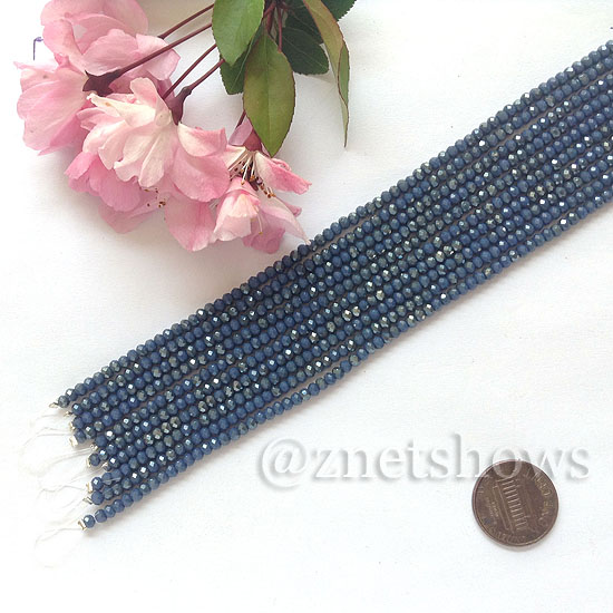 Tiaria Glass Crystal rondelle Beads <b>About 2x2.5mm</b> faceted  Opaque ink blue (8-in-str,about 100-pc-str) per <b>10-str-bag</b>
