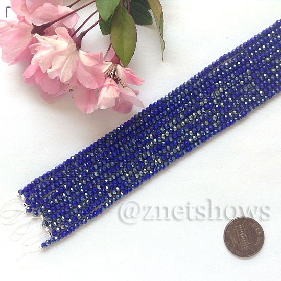 Tiaria Glass Crystal rondelle Beads <b>About 2x2.5mm</b> faceted  Opaque Deep blue (8-in-str,about 100-pc-str) per <b>10-str-bag</b>