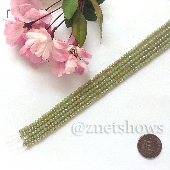 Tiaria Glass Crystal rondelle Beads <b>About 2x2.5mm</b> faceted  Opaque Light green (8-in-str,about 100-pc-str) per <b>5-str-bag</b>