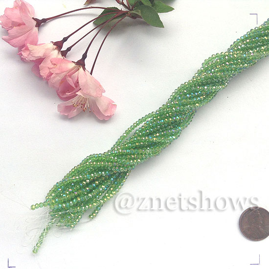 Tiaria Glass Crystal rondelle Beads <b>About 2x2.5mm</b> faceted 24AB-Pine green AB  (about 200-pc-str) per <b>16-in-str</b>