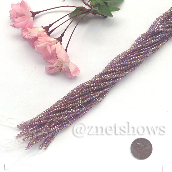 Tiaria Glass Crystal rondelle Beads <b>About 2x2.5mm</b> faceted 37AB-Medium Amethyst AB  (about 200-pc-str) per <b>16-in-str</b>