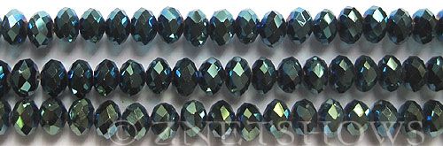 Tiaria Glass Crystal 111-Metallic Blue Green rondelle Beads <b>8x5mm</b> faceted     per   <b> 8-in-str</b>