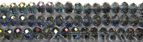 Tiaria Glass Crystal 117-Indigo Blaze rondelle Beads <b>8x5mm</b> faceted     per   <b> 8-in-str</b>