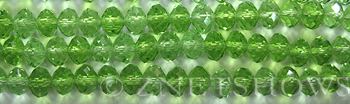 Tiaria Glass Crystal 20-Light Olive rondelle Beads <b>8x5mm</b> faceted     per   <b> 8-in-str</b>