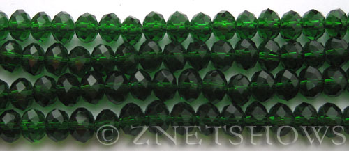 Tiaria Glass Crystal Emerald Green rondelle Beads <b>8x5mm</b> faceted   per   <b> 8-in-str</b>
