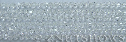 Tiaria Glass Crystal 01-Crystal bicone Beads <b>4mm</b> faceted     per   <b> 8-in-str (50-pc-str)</b>