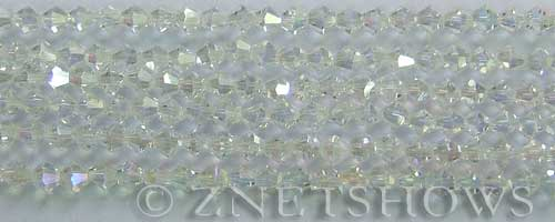 Tiaria Glass Crystal 01AB-Crystal AB bicone Beads <b>4mm</b> faceted     per   <b>  8-in-str (50-pc-str)</b>