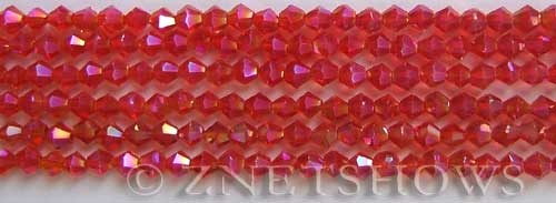 Tiaria Glass Crystal 04AB-Light Cherry AB bicone Beads <b>4mm</b> faceted     per   <b> 8-in-str (50-pc-str)</b>