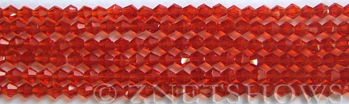 Tiaria Glass Crystal 05-Cherry Red bicone Beads <b>4mm</b> faceted     per   <b> 8-in-str (50-pc-str)</b>