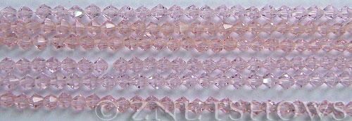 Tiaria Glass Crystal 06-Blossom Pink bicone Beads <b>4mm</b> faceted     per   <b> 8-in-str (50-pc-str)</b>