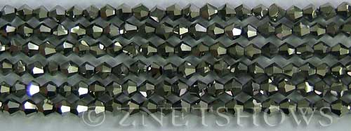 Tiaria Glass Crystal 104- Metallic Silver bicone Beads <b>4mm</b> faceted     per   <b> 8-in-str (50-pc-str)</b>