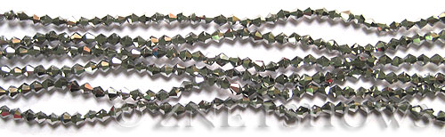 Tiaria Glass Crystal 104- Metallic Silver bicone Beads <b>4mm</b> faceted     per   <b> 13-in-str (80-pc-str)</b>