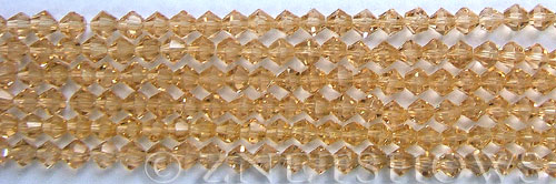 Tiaria Glass Crystal 11-Gold Champagne bicone Beads <b>4mm</b> faceted     per   <b> 8-in-str (50-pc-str)</b>