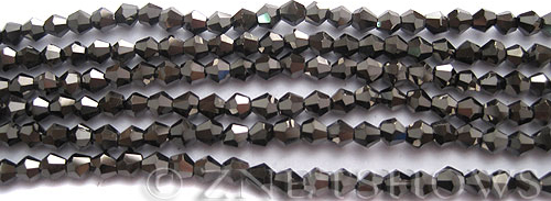 Tiaria Glass Crystal 114-Metallic Chocolate bicone Beads <b>4mm</b> faceted     per   <b> 8-in-str (50-pc-str)</b>