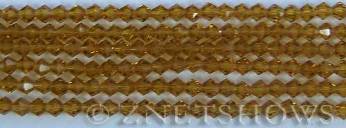 Tiaria Glass Crystal 16-Desert Gold bicone Beads <b>4mm</b> faceted     per   <b> 8-in-str (50-pc-str)</b>