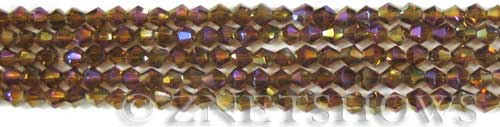 Tiaria Glass Crystal 17AB-Amber AB bicone Beads <b>4mm</b> faceted     per   <b> 8-in-str (50-pc-str)</b>