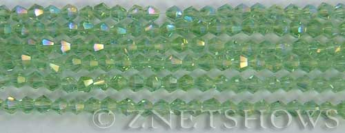 Tiaria Glass Crystal 23AB-Peridot AB bicone Beads <b>4mm</b> faceted     per   <b> 8-in-str (50-pc-str)</b>