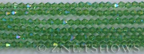 Tiaria Glass Crystal 24AB-Pine green AB bicone Beads <b>4mm</b> faceted     per   <b> 8-in-str (50-pc-str)</b>