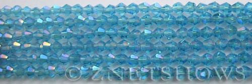 Tiaria Glass Crystal 30AB-Pacific Blue AB bicone Beads <b>4mm</b> faceted     per   <b> 8-in-str (50-pc-str)</b>