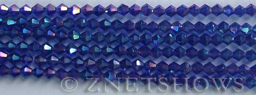 Tiaria Glass Crystal 33AB-Royal Blue AB bicone Beads <b>4mm</b> faceted     per   <b> 8-in-str (50-pc-str)</b>