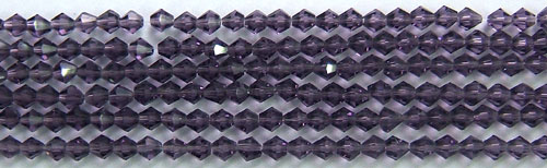 Tiaria Glass Crystal 35-Purple  bicone Beads <b>4mm</b> faceted     per   <b> 8-in-str (50-pc-str)</b>