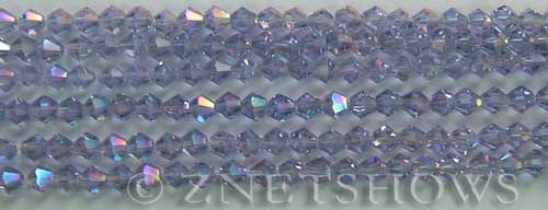 Tiaria Glass Crystal 39AB-Periwinkle Changes AB bicone Beads <b>4mm</b> faceted     per   <b> 8-in-str (50-pc-str)</b>