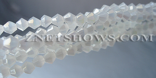 Tiaria Glass Crystal 41AB-Translucent White AB bicone Beads <b>4mm</b> faceted     per   <b> 8-in-str (50-pc-str)</b>