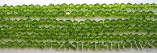 Tiaria Glass Crystal 80-Lime Green bicone Beads <b>4mm</b> faceted     per   <b> 8-in-str (50-pc-str)</b>