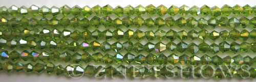 Tiaria Glass Crystal 80AB-Lime Green AB bicone Beads <b>4mm</b> faceted     per   <b> 8-in-str (50-pc-str)</b>