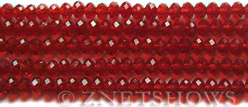Tiaria Glass Crystal 04-Light Cherry rondelle Beads <b>6x4mm</b> faceted     per   <b> 8.5-in-str (50-pc-str)</b>