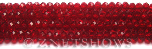 Tiaria Glass Crystal 05-Cherry Red rondelle Beads <b>6x4mm</b> faceted     per   <b> 8.5-in-str (50-pc-str)</b>