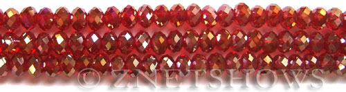 Tiaria Glass Crystal 05AB-Cherry Red AB rondelle Beads <b>6x4mm</b> faceted     per   <b> 8.5-in-str (50-pc-str)</b>