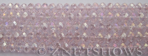 Tiaria Glass Crystal 06AB-Blossom Pink AB rondelle Beads <b>6x4mm</b> faceted     per   <b> 8.5-in-str (50-pc-str)</b>